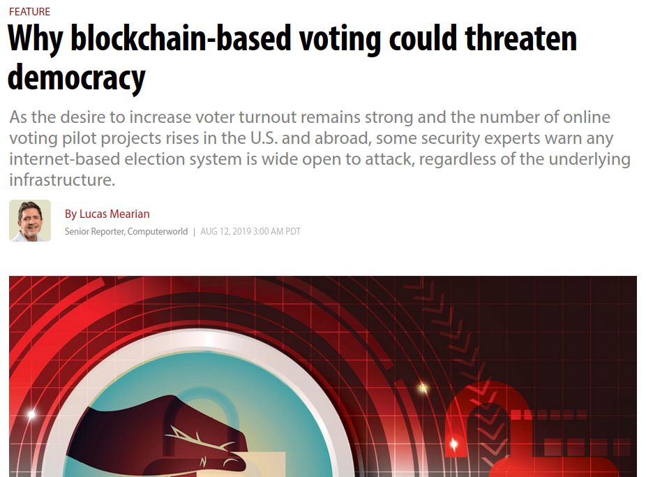 Blockchain voting is overrated among uninformed people but underrated among informed people